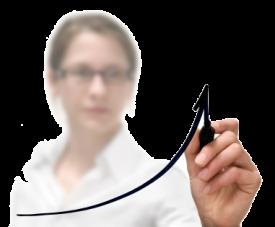 Business Women Darwing a Graph Transparent